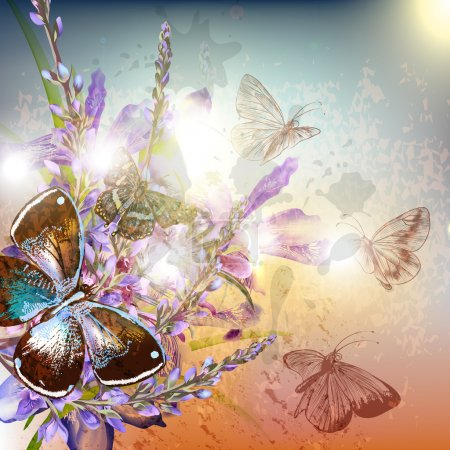 Illustration for Artistic floral background with butterfly sits on flower - Royalty Free Image