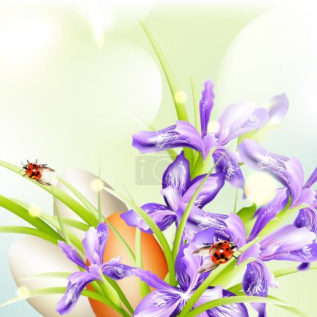 Illustration for Easter greeting background with eggs and flowers - Royalty Free Image