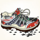 Fashion background with sports boots decorated by USA and Britis