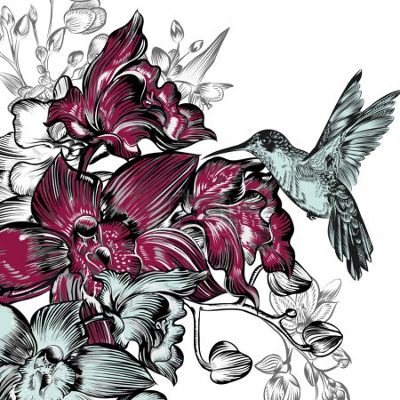 Illustration for Background with orchids and hummingbird - Royalty Free Image