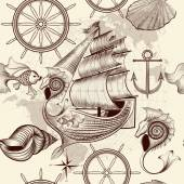 Antique pattern with ship shells and map tripping theme