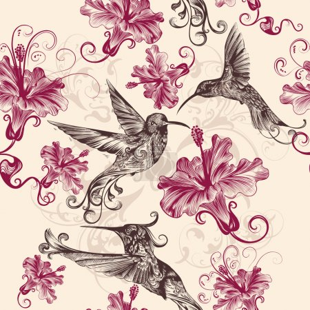 Beautiful seamless wallpaper pattern with hummingbirds and flowe
