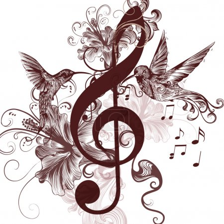 Illustration for Vector pattern with bird and music notes - Royalty Free Image