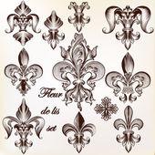 Collection of vector royal fleur de lis for design