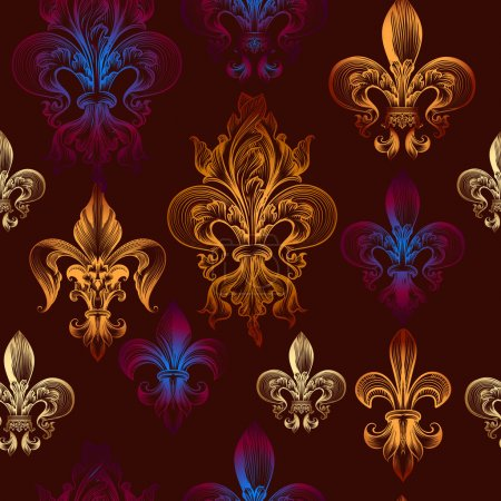 Heraldic seamless wallpaper pattern with fleur de lis