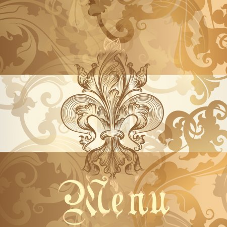 Menu design with heraldic elements