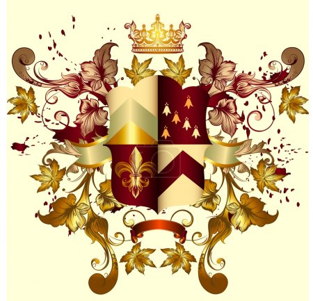 Heraldic coat of arms with shield, crown and ornament