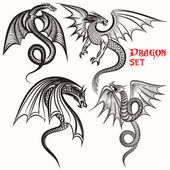 Tattoo collection from hand drawn dragons for design