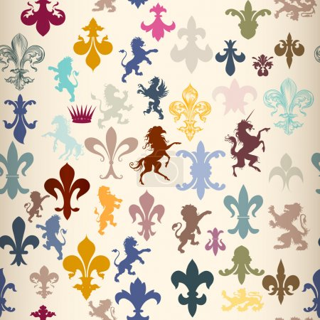 Seamless wallpaper pattern with heraldic elements