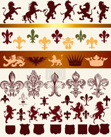 Vector set of luxury royal vintage elements for your heraldic de