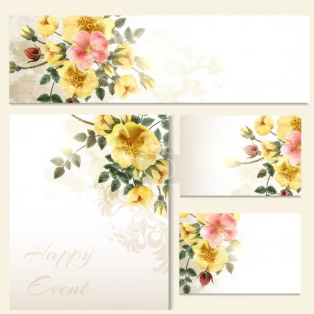 Vector invitation cards with roses antique style