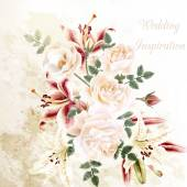 Fashion vector background with roses in vintage style