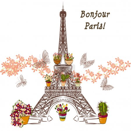 Vector Eiffel tower and potters fully of flowers. Boutique banne