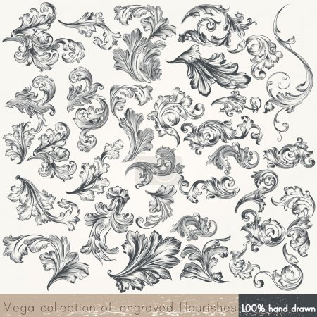 Illustration for Collection of vector hand drawn flourishes in engraved style. Mega set - Royalty Free Image
