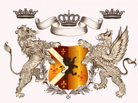 Heraldic design with coat of arms griffin, lion and crowns in an