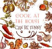 Kochen, Hintergrund oder Poster mit verschiedenen Gewürzen und Kräutern coo