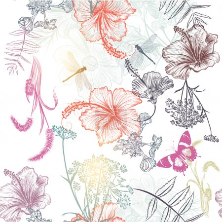 Floral seamless vector background with engraved flowers hibiscus