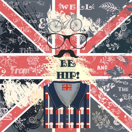 Creative hipster background with hand sketched doodles and hipst