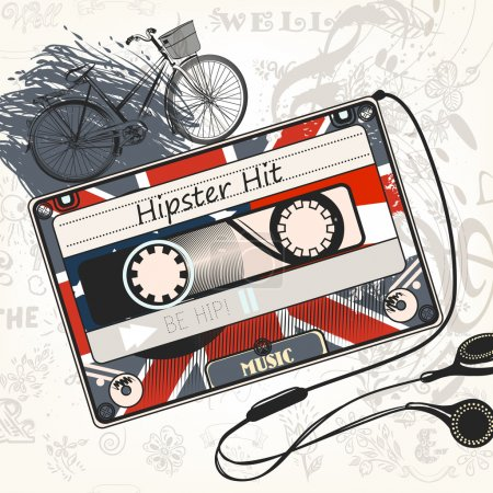 Vector music background with old cassette decorated by British f