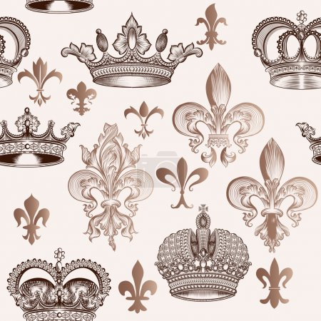 Vintage seamless pattern with crowns and fleur de lis for design