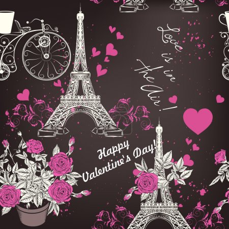 Beautiful seamless vector wallpaper pattern with Eifel tower and