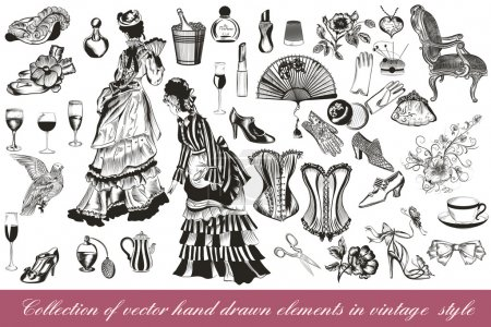 Collection of vector fashion lady set accessories clothiers and