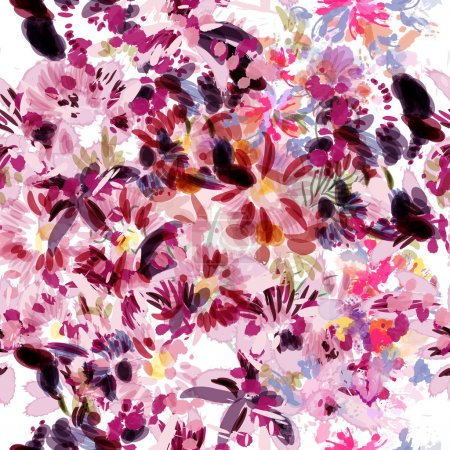 Beautiful vector pattern with orchid flowers hummingbirds