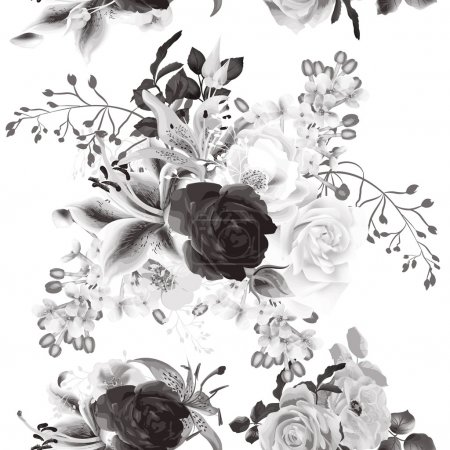 Illustration for Elegant seamless background with roses in monochromic sepia style - Royalty Free Image