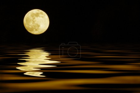 Photo for Yellow moon over sea reflection - Royalty Free Image