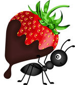 Scalable vectorial image representing a ant carrying strawberry with chocolate sauce isolated on white
