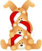 Scalable vectorial image representing a stack of christmas teddy bears isolated on white