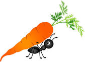 Scalable vectorial image representing a ant carrying carrot isolated on white