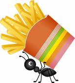 Scalable vectorial image representing a ant carrying a french fries in stripes packaging isolated on white