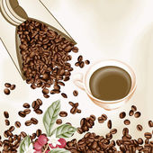 Scalable vectorial image representing a cup of coffee and coffee seeds background