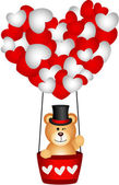 Scalable vectorial image representing a valentine teddy bear in a heart hot air balloon isolated on white