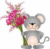 Scalable vectorial image representing a cute mouse with flowers isolated on white