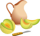 Scalable vectorial image representing a clay jug with cantaloupe melon isolated on white