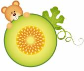 Scalable vectorial image representing a teddy bear eating cantaloupe melon slice isolated on white