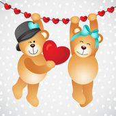 Hanging teddy bears with hearts