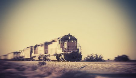 Freight train traveling through Arizona
