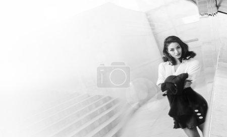 Art photo beautiful young woman reflection