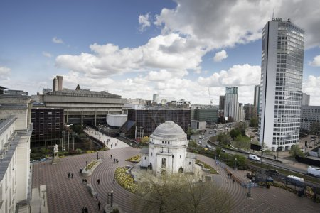 Birmingham, England, Centenary Square, city center...