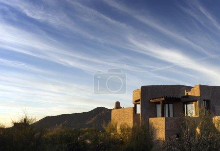 South West desert landscape dramatic sky adobe style architecture