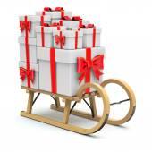 Dřevěné sáně s dárky