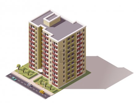 Illustration for Isometric icon representing city building - Royalty Free Image