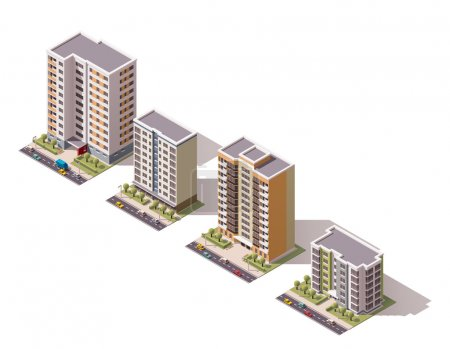 Illustration for Set of the isometric town buildings - Royalty Free Image