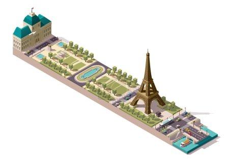 Vector isometric map of the Champ de Mars in Paris