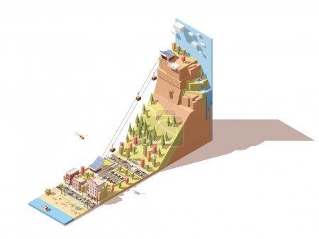 Vector isometric cableway from the beach to the hill infographic