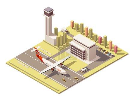 Terminal de l'aéroport vecteur isométrique poly faible minimaliste avec la tour de contrôle et l'hélice avion atterrissage