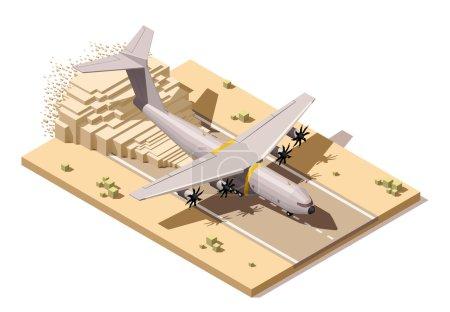 Piste d'atterrissage vecteur isométrique low poly désertique avec avion de fret humanitaire ou militaire d'atterrissage sur la piste poussiéreuse